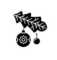 christmas tree branch black icon sign on vector image