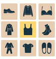 clothes icons set with pullover casual half-hose vector image
