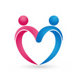couple people figure forming heart logo vector image vector image