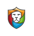 creative abstract colorful lion shield logo vector image vector image