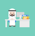 cute arab business man sit at desk business vector image