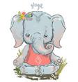 cute elephant makes yoga vector image vector image