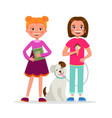 cute girls having fun standing together vector image
