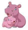 cute hippo mother with baby hippo vector image vector image