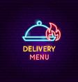 delivery menu neon label vector image vector image