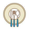 dish with cutleries icon vector image vector image