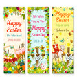 easter holiday symbols greeting banner set design vector image vector image