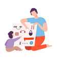 father playing educational game with his son vector image vector image