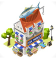 Fishmonger Shop City Building 3D Isometric vector image vector image