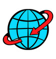 flight around world icon cartoon vector image