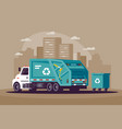 garbage collection in the city in the vector image vector image