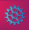 gear sign blue 3d printed icon on magenta vector image vector image