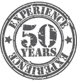 Grunge 50 years of experience rubber stamp vector image vector image