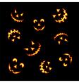 Halloween pumpkin faces vector image vector image