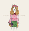 Hand drawn of hipster doggy girl vector image vector image