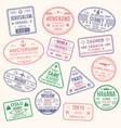 icons travel city passport stamp vector image