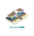 isometric store mall shopping center composition vector image vector image