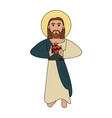 jesuschrist sacred heart cartoon vector image vector image