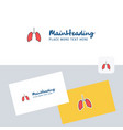 lungs logotype with business card template vector image vector image