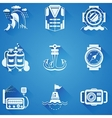 Marine elements white icons vector image vector image
