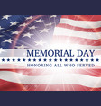 memorial day poster with the flag of usa vector image