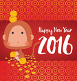 Monkey Happy New Year 2016 Card vector image vector image