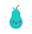 pear kawaii cute cartoon funny fruit sweet food vector image