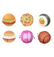planets from food space set from candy sweets vector image