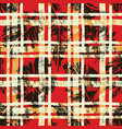 scottish tartan with hibiscus and leaves vector image