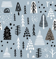 seamless pattern with winter wood trees and ink vector image