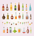 set design alcohol bottles and glasses vector image vector image