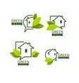 set ecological homes green leaves and trees vector image