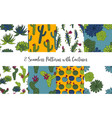 set seamless patterns with cactus vector image