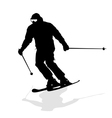skier speeding down slope sport silhouette vector image
