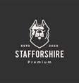 staffordshire terrier dog hipster vintage logo vector image vector image