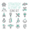 startup strategy outline web busines icon set vector image vector image