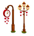 street clock and lantern with hearts vector image vector image