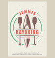 summer kayaking retro poster design vector image vector image