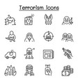 terrorism icon set in thin line style vector image