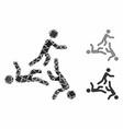 three moving men mosaic icon ragged elements vector image vector image