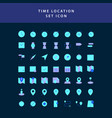 time location flat style design icon set vector image vector image