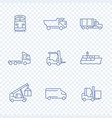 transportation icons forklift cargo ship train vector image