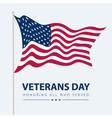 usa flag on white poster veterans day celebrate vector image