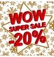 Winter sale poster with WOW SUPER SALE MINUS 20 vector image vector image