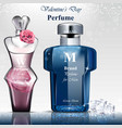 women and men perfume bottle fragrance realistic vector image vector image