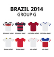 World Cup Brazil 2014 - group F teams jerseys vector image vector image