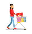 young brunette woman in casual clothes walking vector image vector image