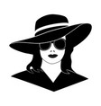 young lady girl in elegant retro hat black isolat vector image