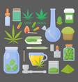 marijuana or cannabis flat icon set vector image