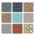 set of seamless patterns with stones and bricks vector image